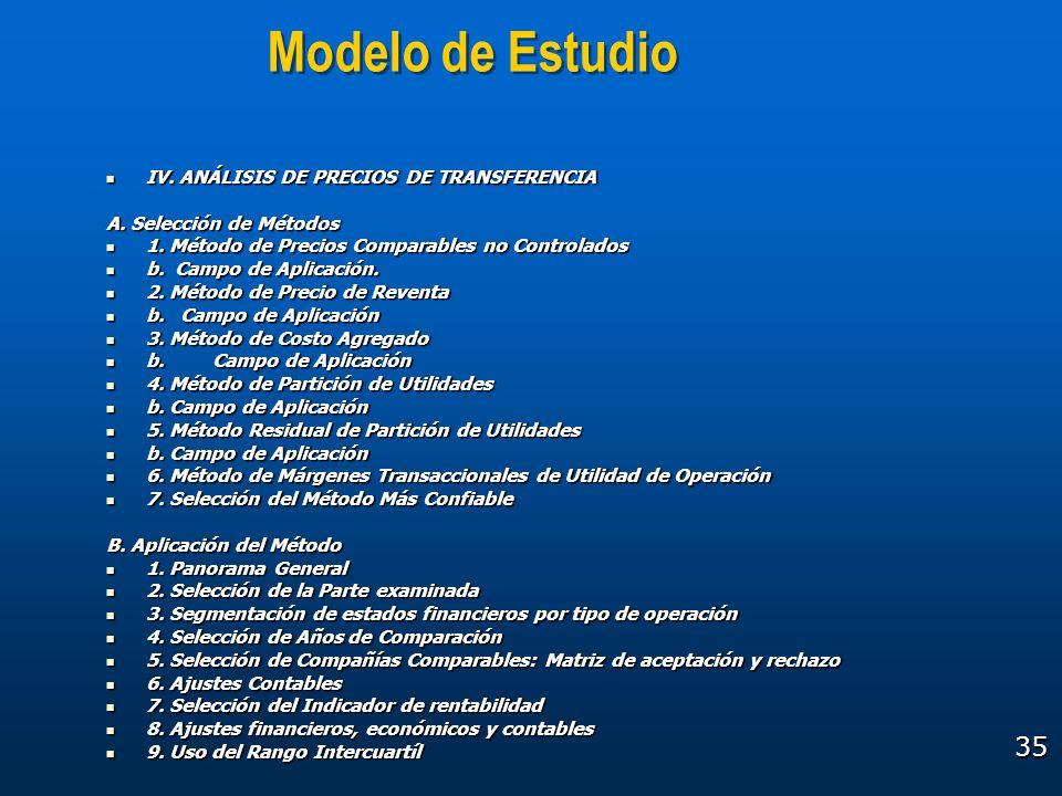 Modelo de Estudio IV. ANÁLISIS DE PRECIOS DE TRANSFERENCIA