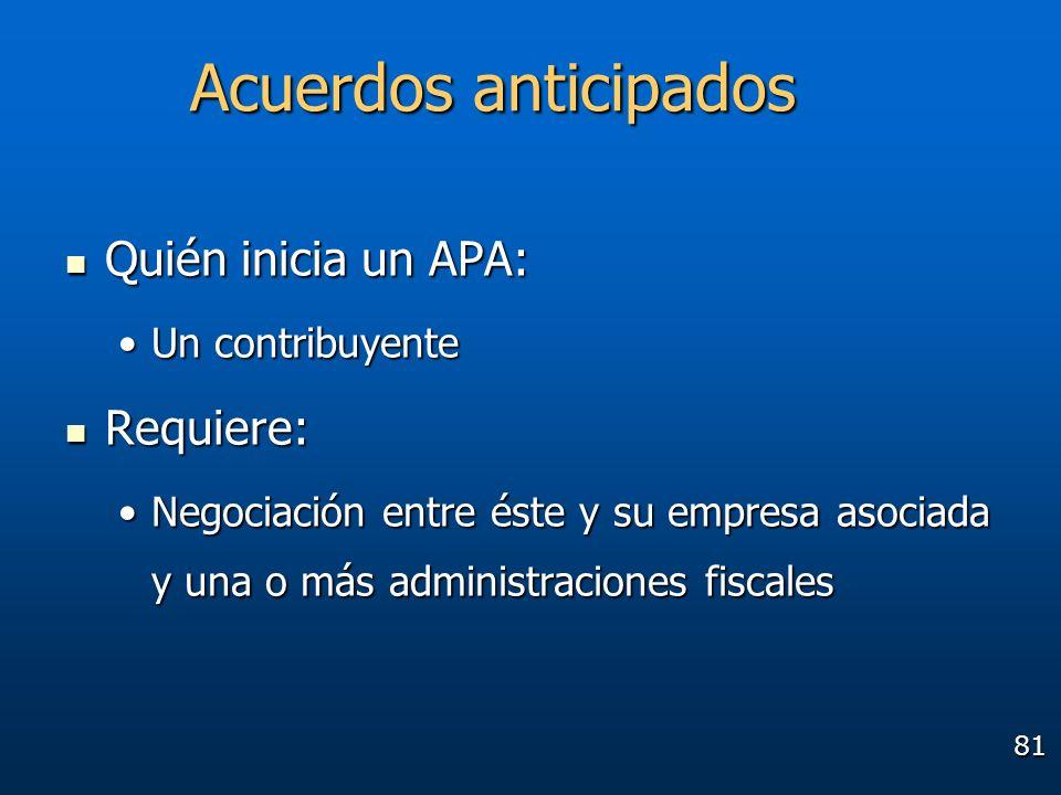 Acuerdos anticipados Quién inicia un APA: Requiere: Un contribuyente