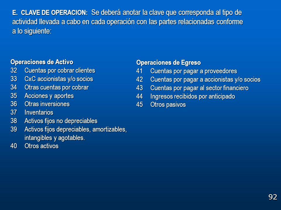 E. CLAVE DE OPERACION: Se deberá anotar la clave que corresponda al tipo de actividad llevada a cabo en cada operación con las partes relacionadas conforme a lo siguiente: