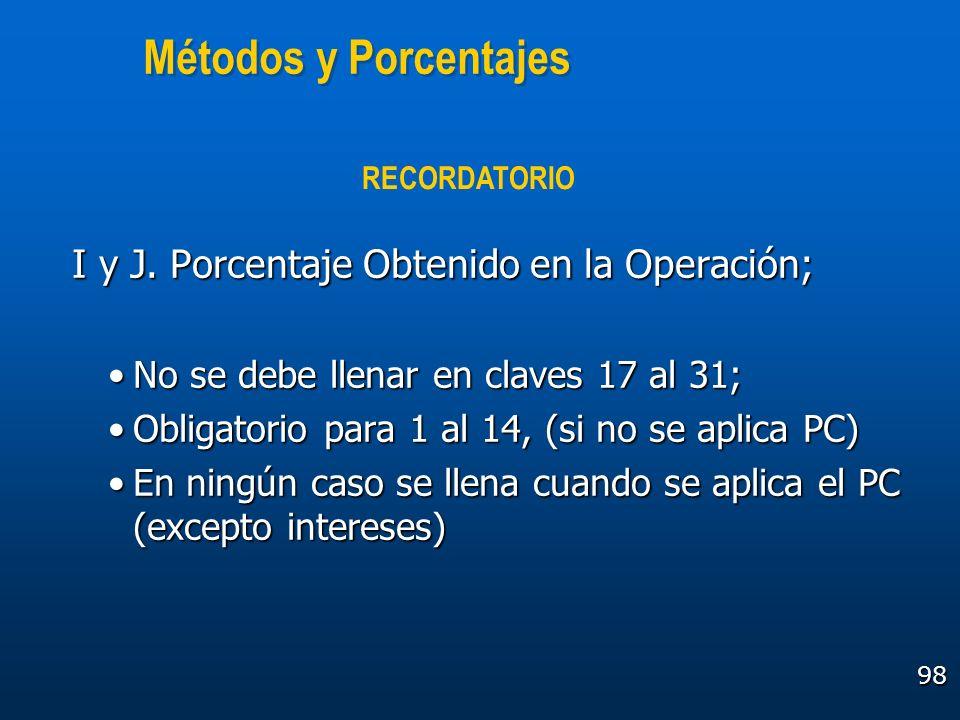 Métodos y Porcentajes I y J. Porcentaje Obtenido en la Operación;
