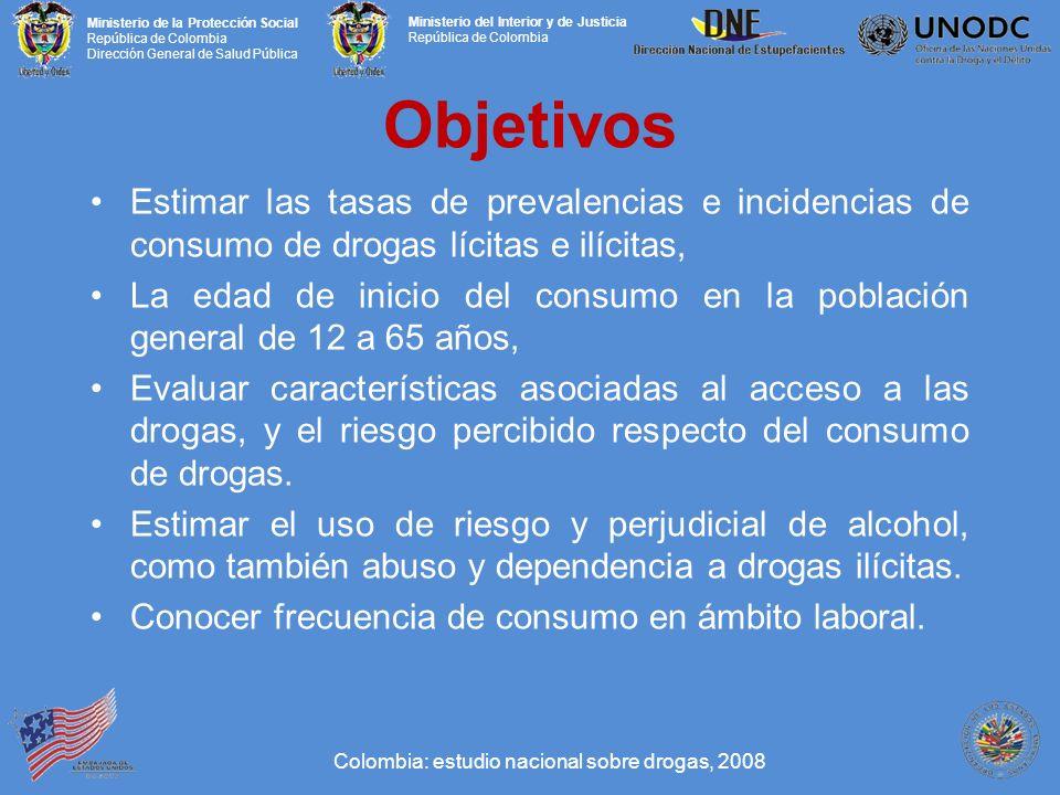 Objetivos Estimar las tasas de prevalencias e incidencias de consumo de drogas lícitas e ilícitas,
