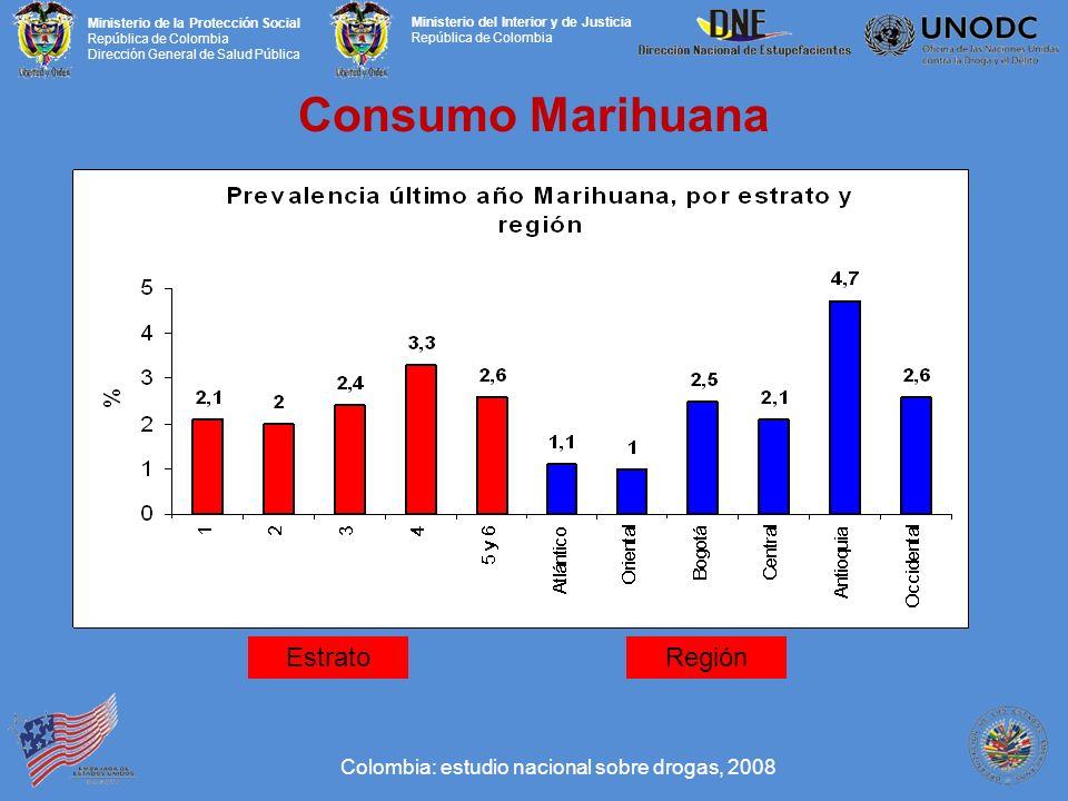 Consumo Marihuana Estrato Región