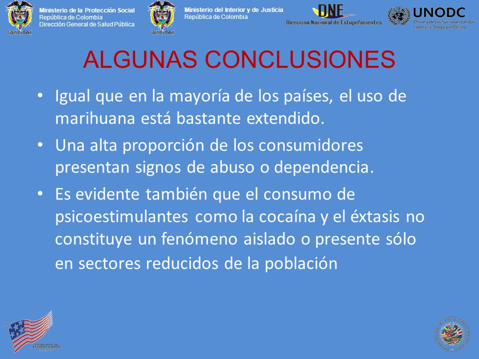 ALGUNAS CONCLUSIONES Igual que en la mayoría de los países, el uso de marihuana está bastante extendido.