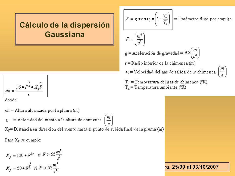 Cálculo de la dispersión Gaussiana