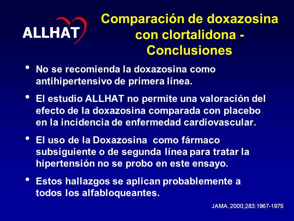 Comparación de doxazosina con clortalidona - Conclusiones