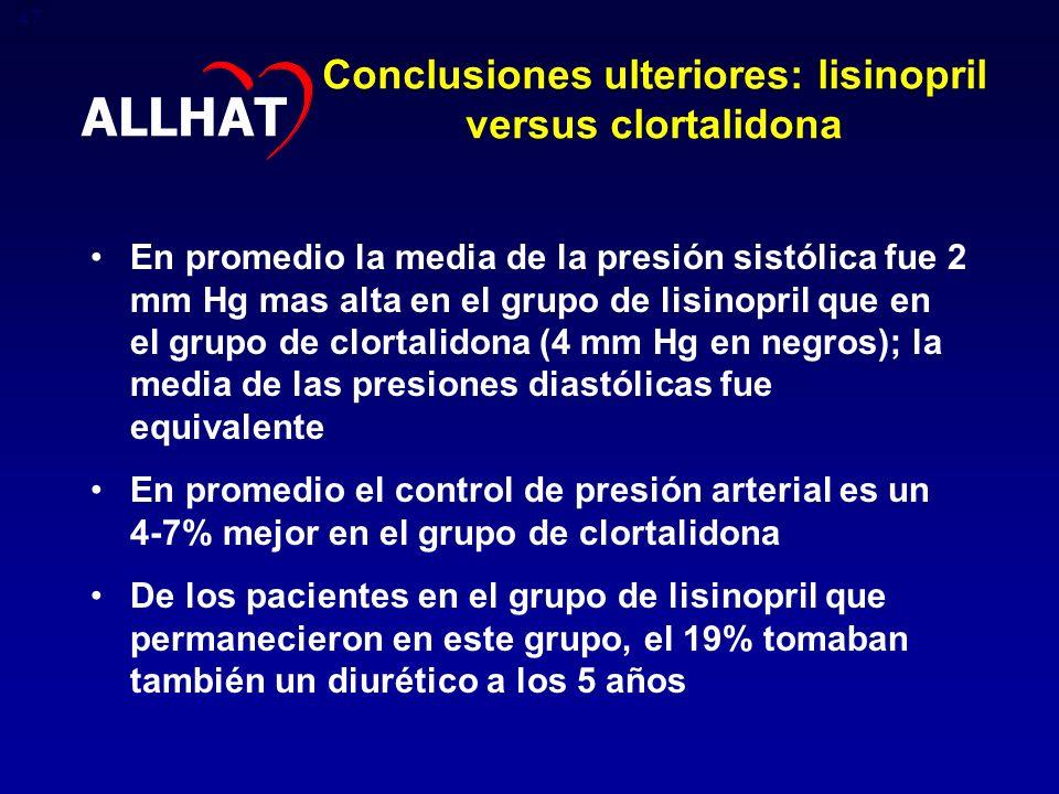 Conclusiones ulteriores: lisinopril versus clortalidona