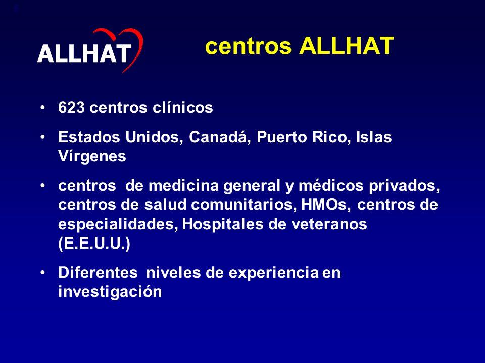 centros ALLHAT ALLHAT 623 centros clínicos