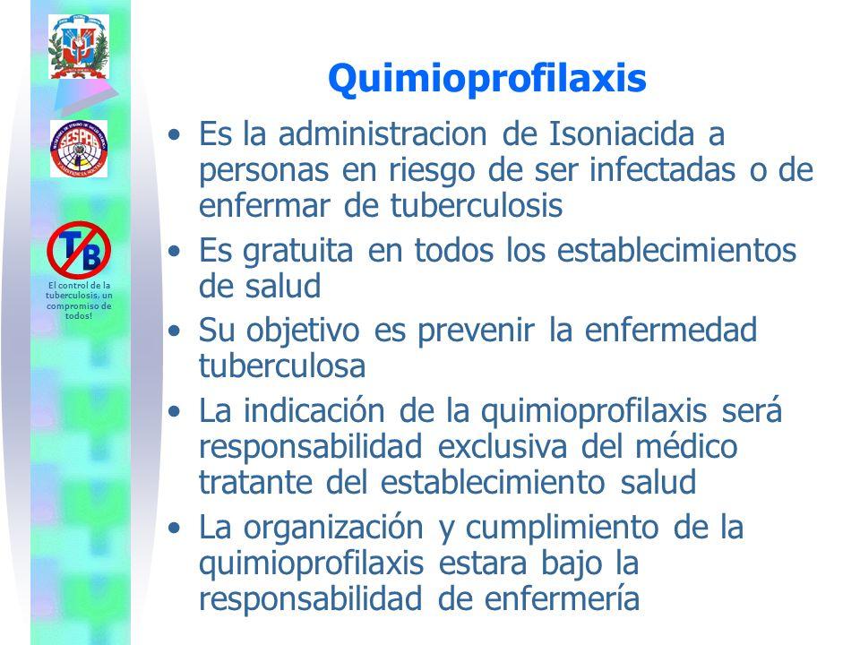 Quimioprofilaxis Es la administracion de Isoniacida a personas en riesgo de ser infectadas o de enfermar de tuberculosis.