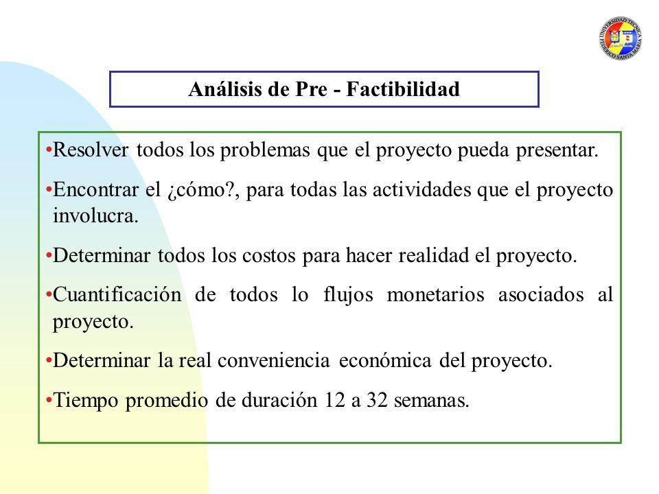 Análisis de Pre - Factibilidad