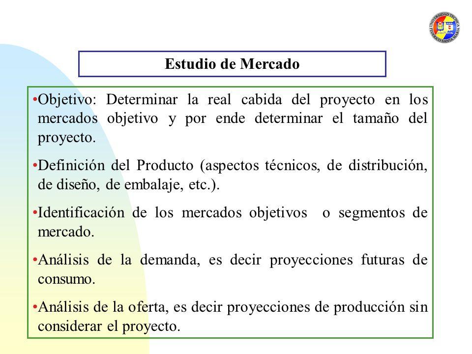 Estudio de Mercado Objetivo: Determinar la real cabida del proyecto en los mercados objetivo y por ende determinar el tamaño del proyecto.