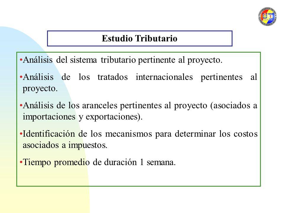 Estudio Tributario Análisis del sistema tributario pertinente al proyecto. Análisis de los tratados internacionales pertinentes al proyecto.