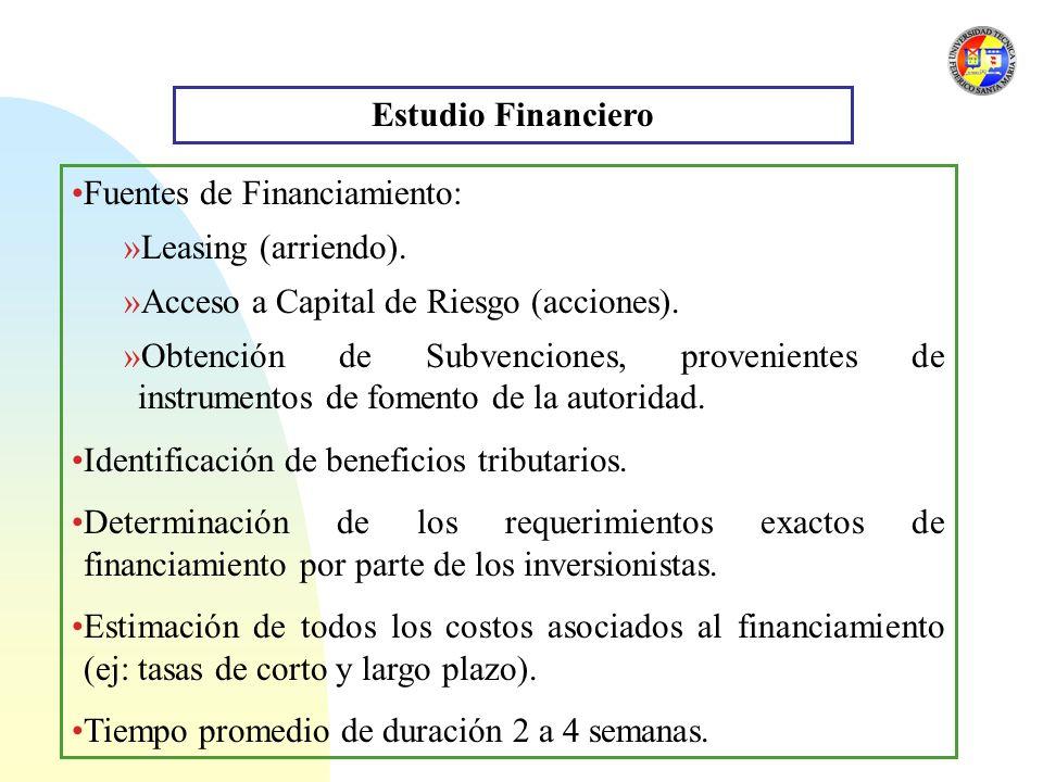 Estudio Financiero Fuentes de Financiamiento: Leasing (arriendo). Acceso a Capital de Riesgo (acciones).