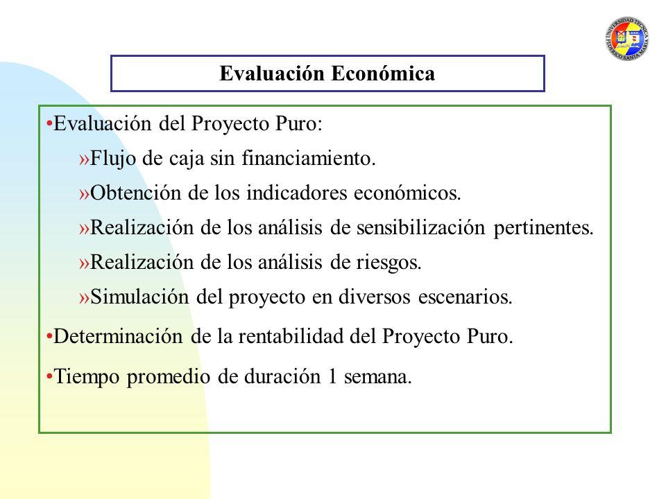 Evaluación Económica Evaluación del Proyecto Puro: Flujo de caja sin financiamiento. Obtención de los indicadores económicos.