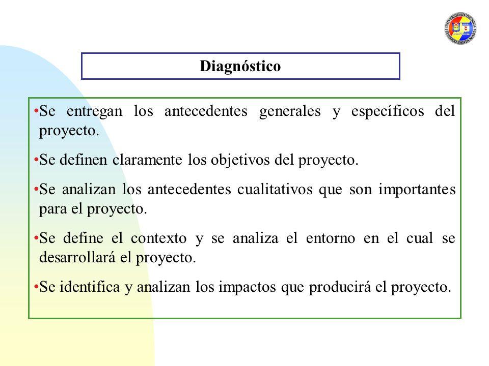 Diagnóstico Se entregan los antecedentes generales y específicos del proyecto. Se definen claramente los objetivos del proyecto.