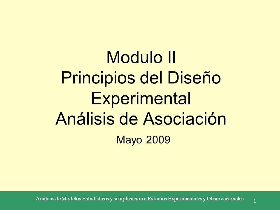 Modulo II Principios del Diseño Experimental Análisis de Asociación
