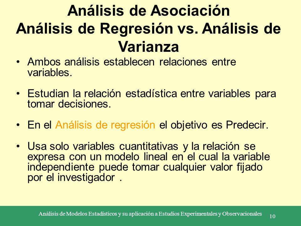 Análisis de Asociación Análisis de Regresión vs. Análisis de Varianza