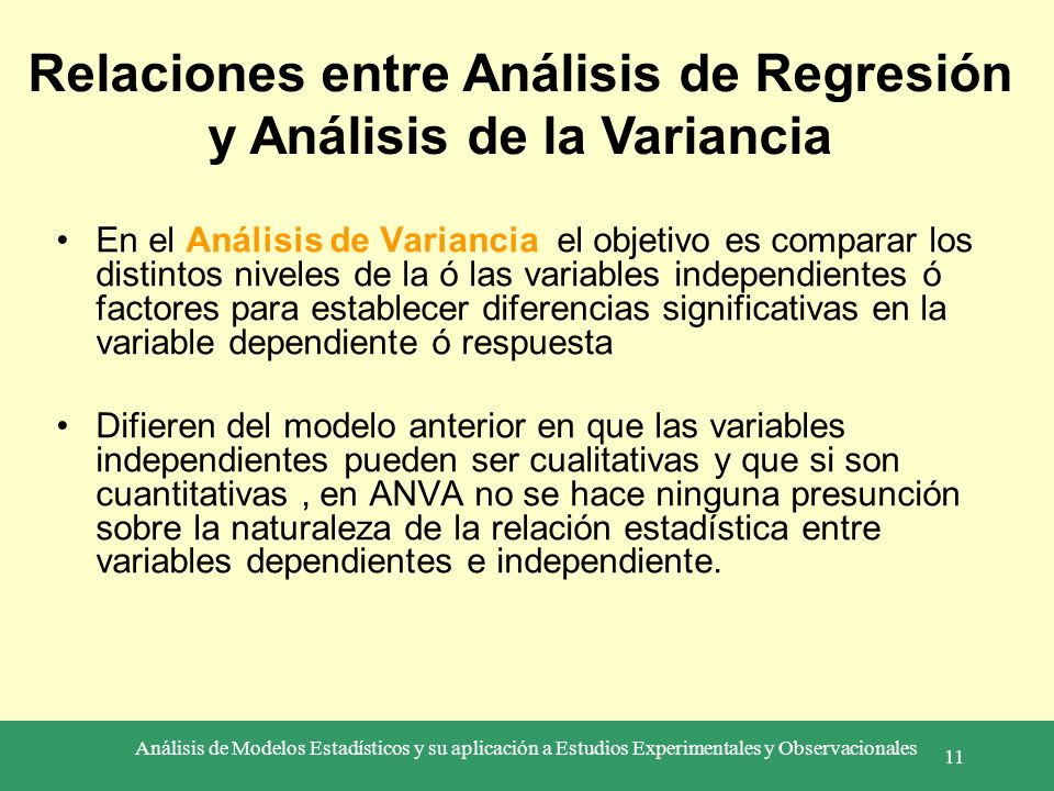Relaciones entre Análisis de Regresión y Análisis de la Variancia