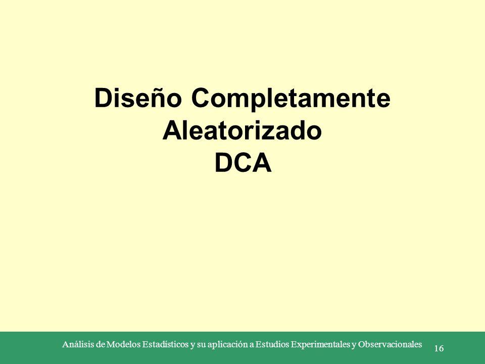 Diseño Completamente Aleatorizado DCA