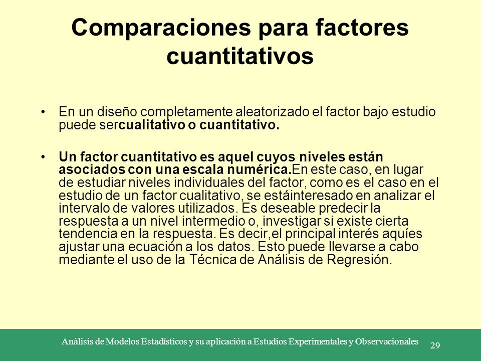 Comparaciones para factores cuantitativos