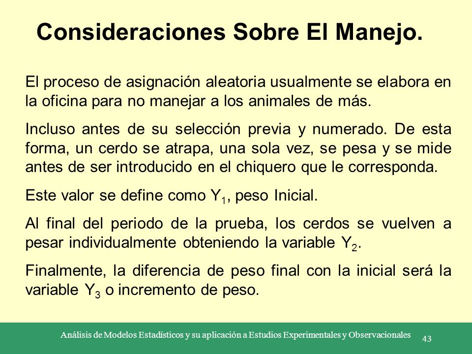 Consideraciones Sobre El Manejo.