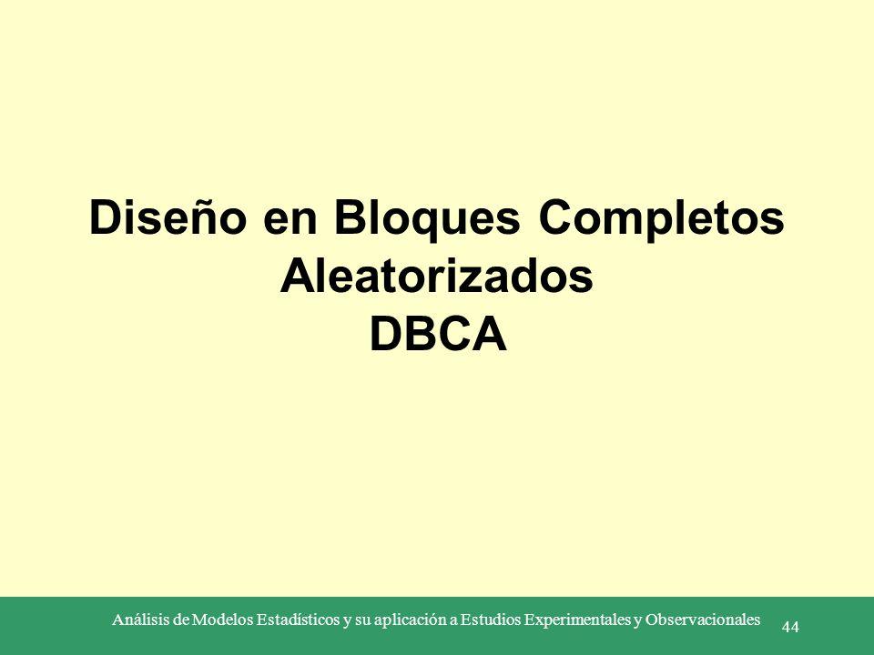 Diseño en Bloques Completos Aleatorizados DBCA