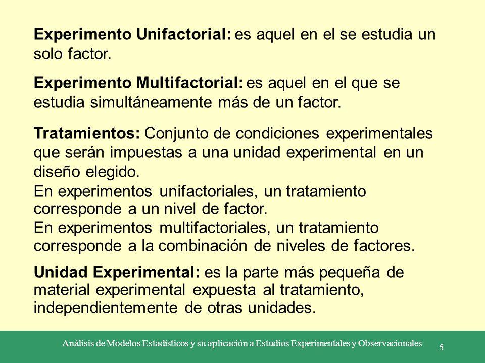 Experimento Unifactorial: es aquel en el se estudia un solo factor.