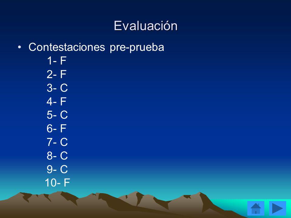 Evaluación Contestaciones pre-prueba 1- F 2- F 3- C 4- F 5- C 6- F