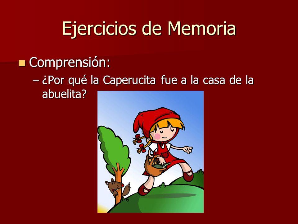 Ejercicios de Memoria Comprensión: