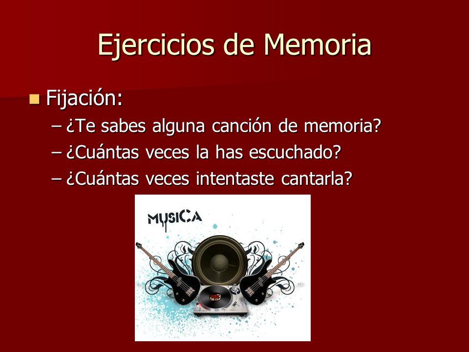 Ejercicios de Memoria Fijación: ¿Te sabes alguna canción de memoria