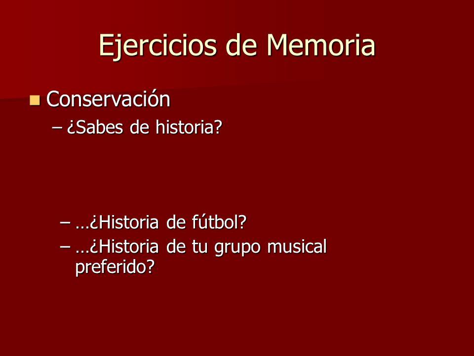 Ejercicios de Memoria Conservación ¿Sabes de historia