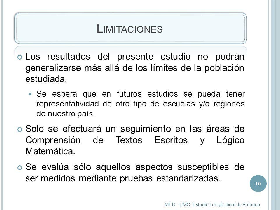 Limitaciones Los resultados del presente estudio no podrán generalizarse más allá de los límites de la población estudiada.