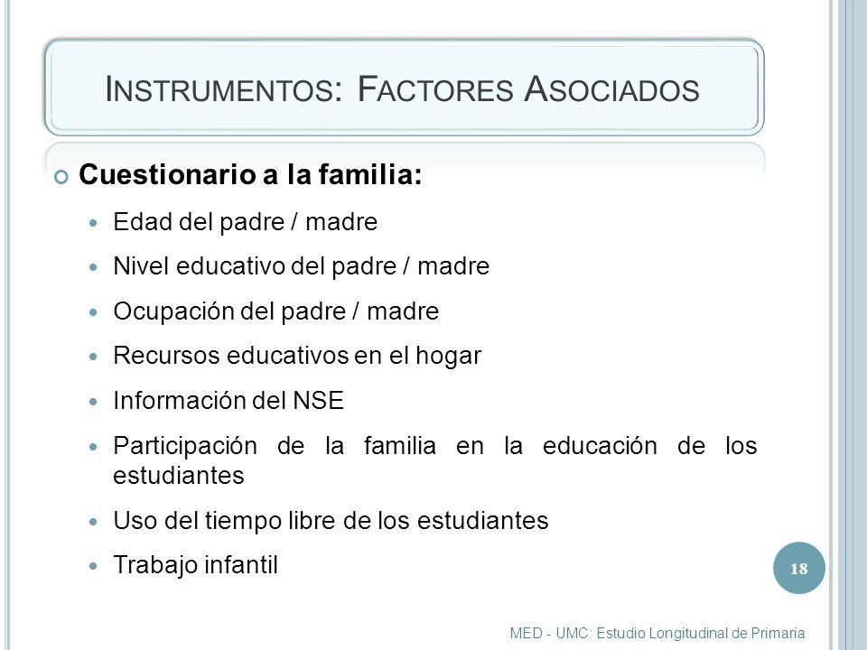 Instrumentos: Factores Asociados