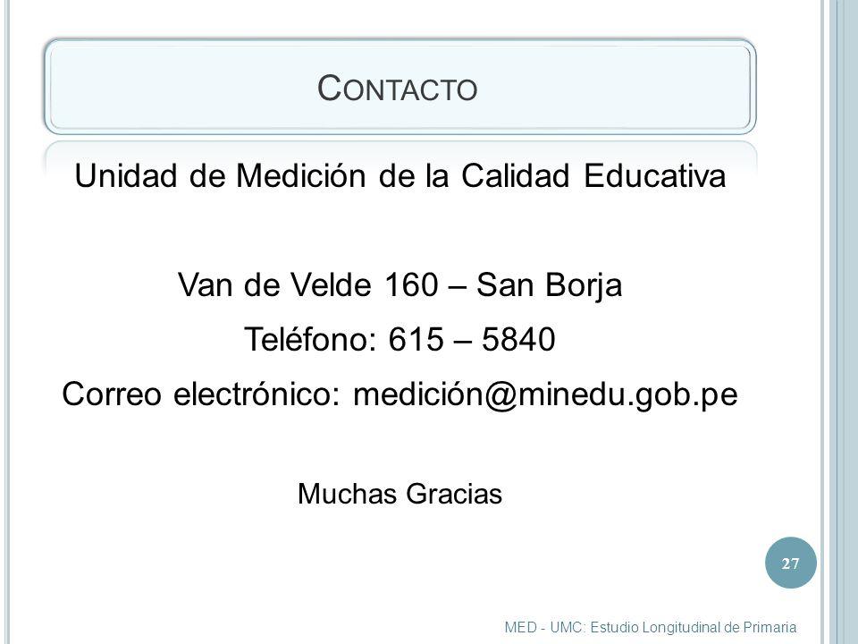 Contacto Unidad de Medición de la Calidad Educativa