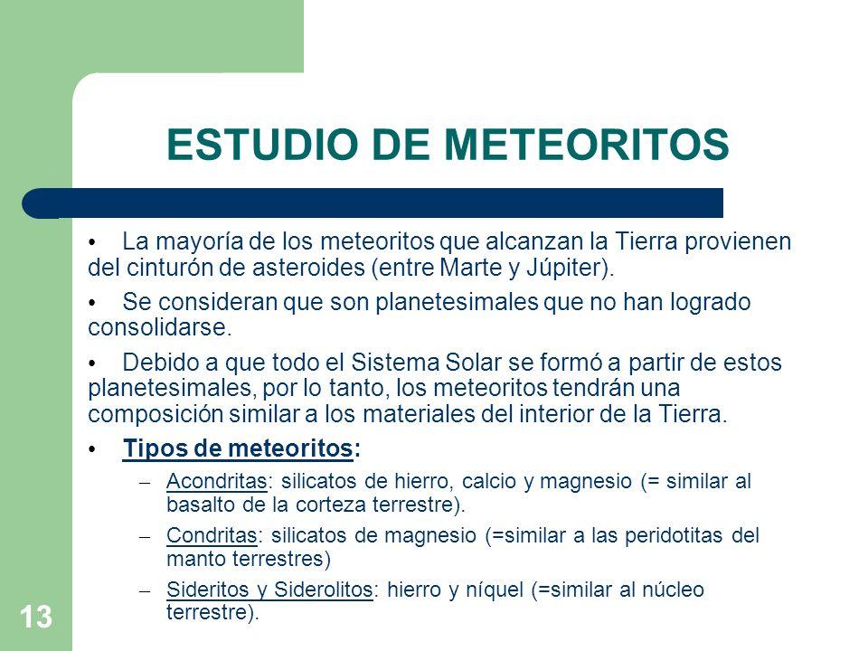 ESTUDIO DE METEORITOS La mayoría de los meteoritos que alcanzan la Tierra provienen del cinturón de asteroides (entre Marte y Júpiter).