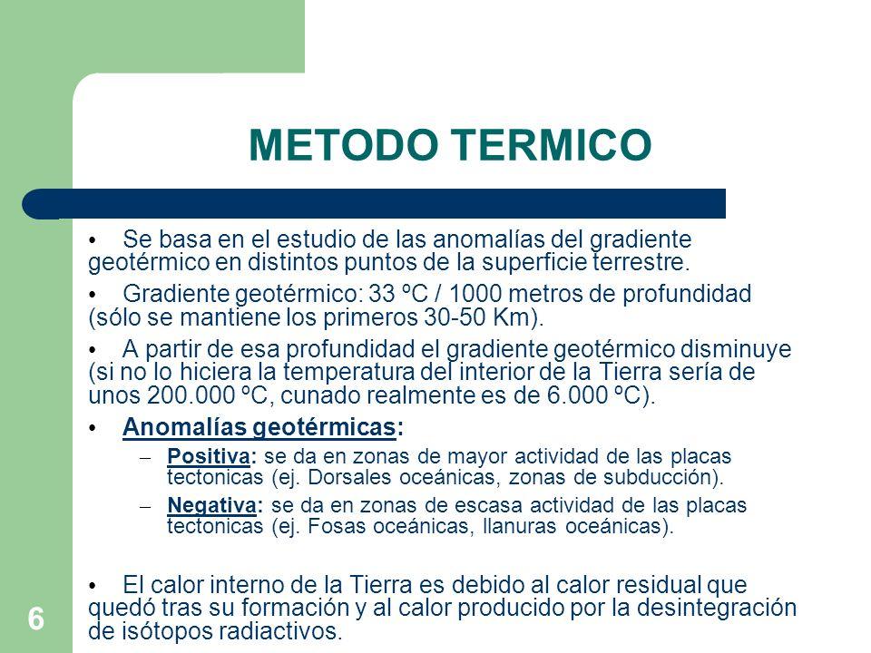 METODO TERMICO Se basa en el estudio de las anomalías del gradiente geotérmico en distintos puntos de la superficie terrestre.