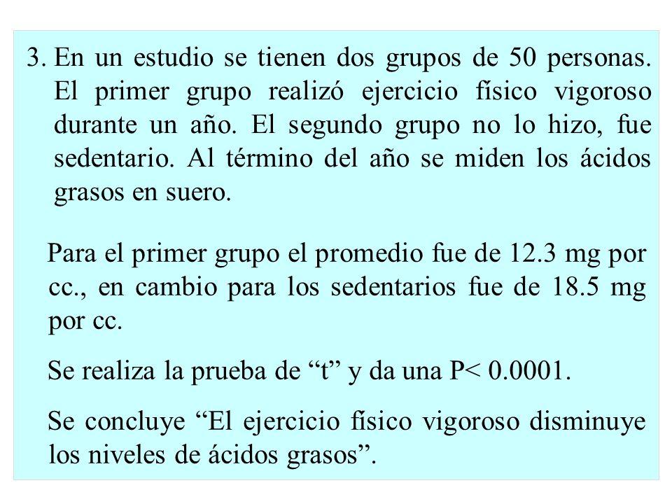 En un estudio se tienen dos grupos de 50 personas