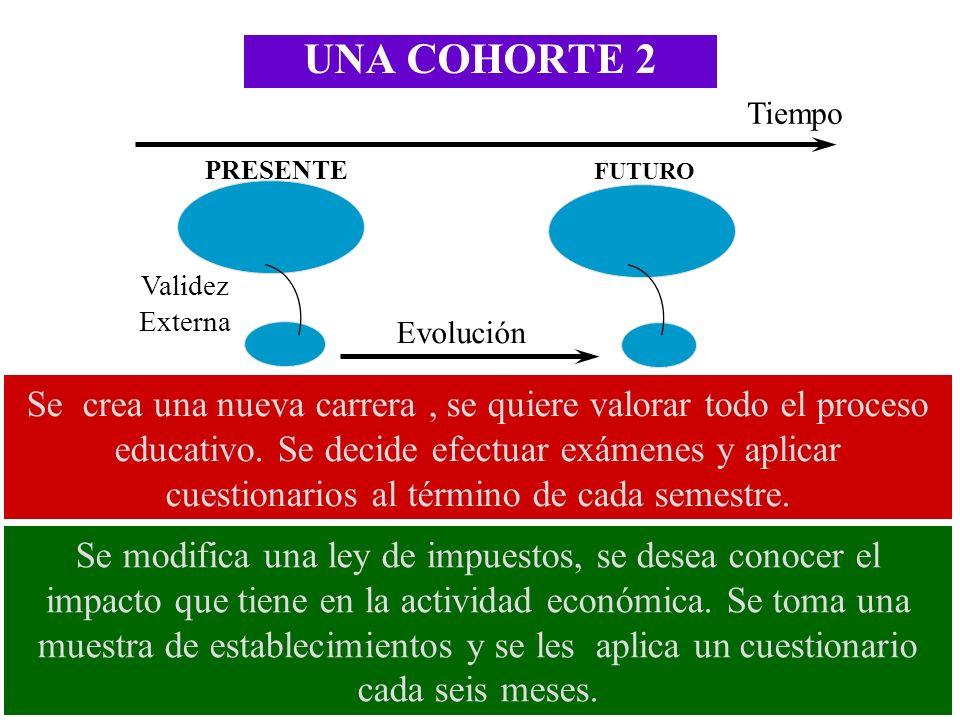 UNA COHORTE 2 Tiempo. PRESENTE. FUTURO. Validez Externa. Evolución.