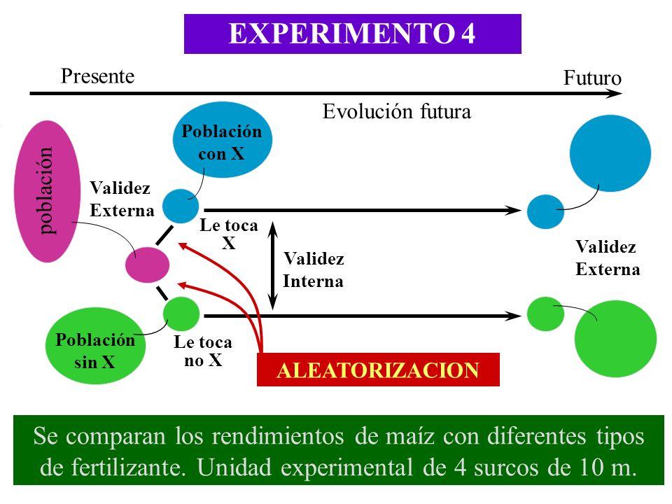 EXPERIMENTO 4 Presente. Futuro. Evolución futura. Población con X. población. Validez Externa.