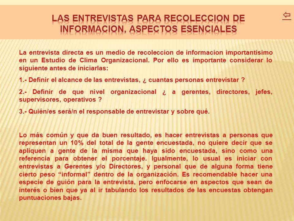 LAS ENTREVISTAS PARA RECOLECCION DE INFORMACION, ASPECTOS ESENCIALES