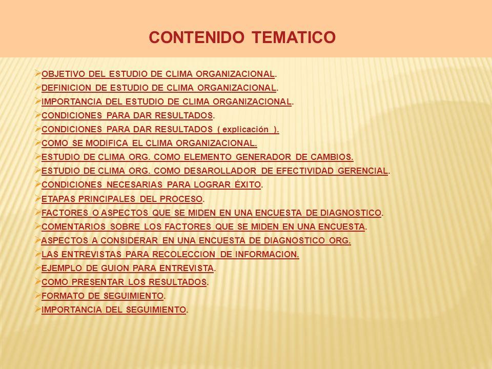 CONTENIDO TEMATICO OBJETIVO DEL ESTUDIO DE CLIMA ORGANIZACIONAL.
