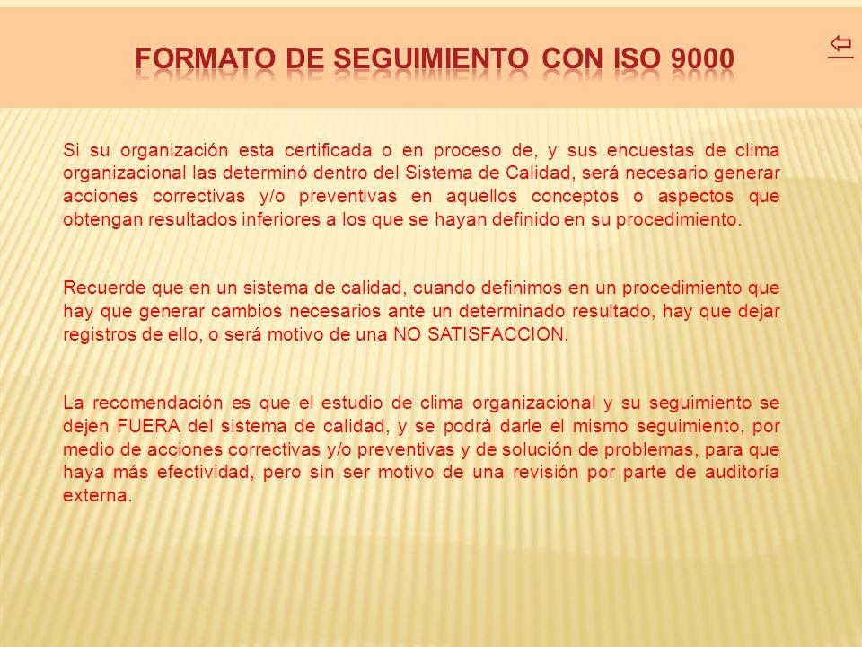 FORMATO DE SEGUIMIENTO CON ISO 9000