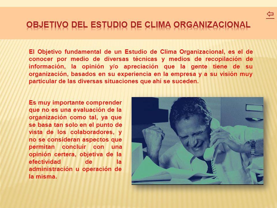 OBJETIVO DEL ESTUDIO DE CLIMA ORGANIZACIONAL