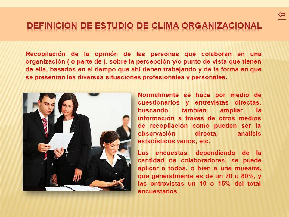 DEFINICION DE ESTUDIO DE CLIMA ORGANIZACIONAL