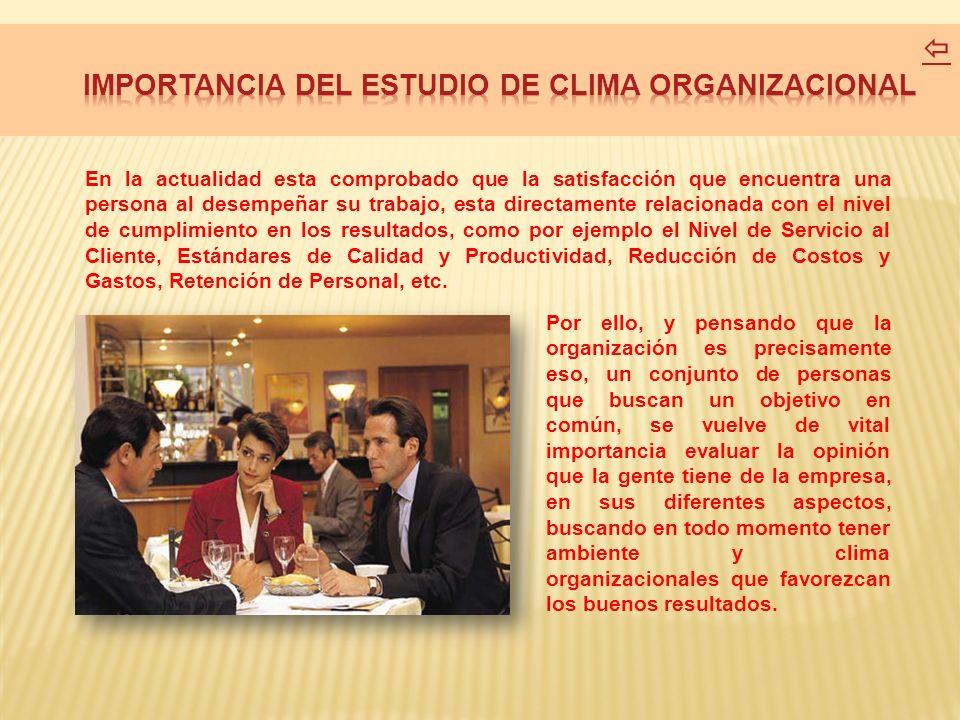 IMPORTANCIA DEL ESTUDIO DE CLIMA ORGANIZACIONAL