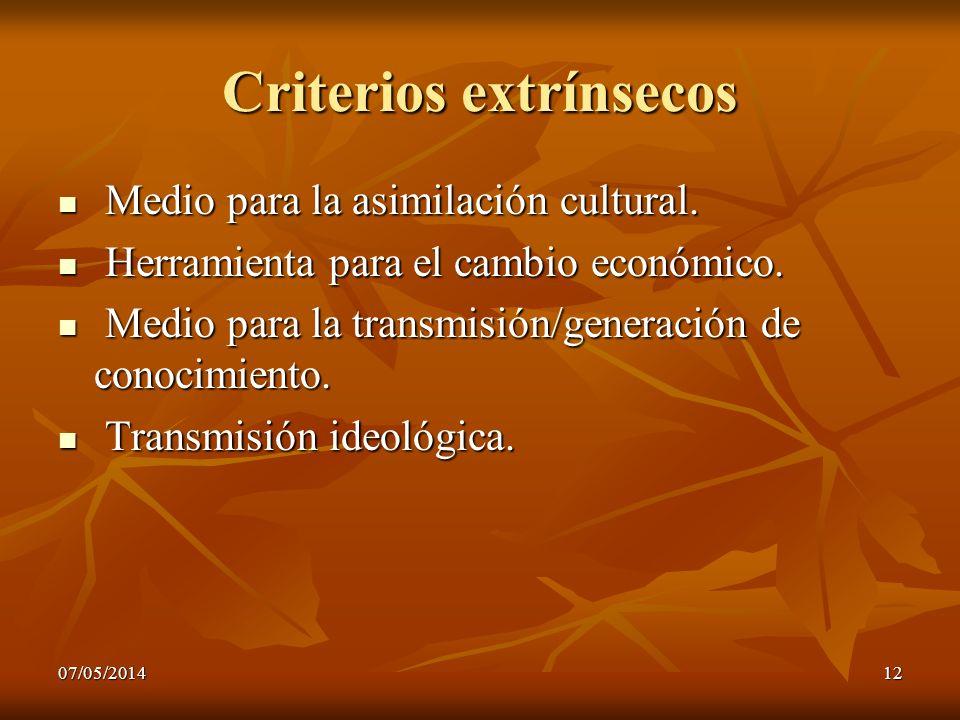 Criterios extrínsecos