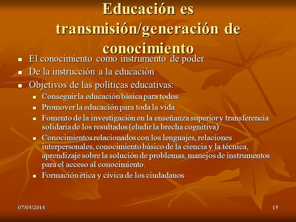 Educación es transmisión/generación de conocimiento