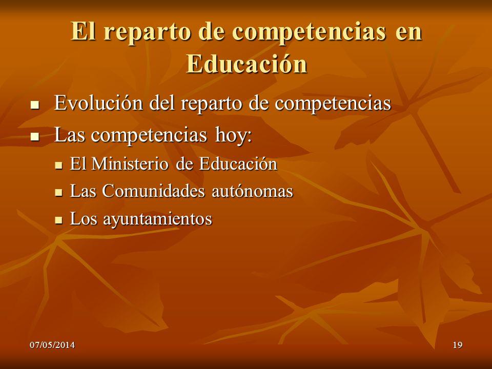 El reparto de competencias en Educación