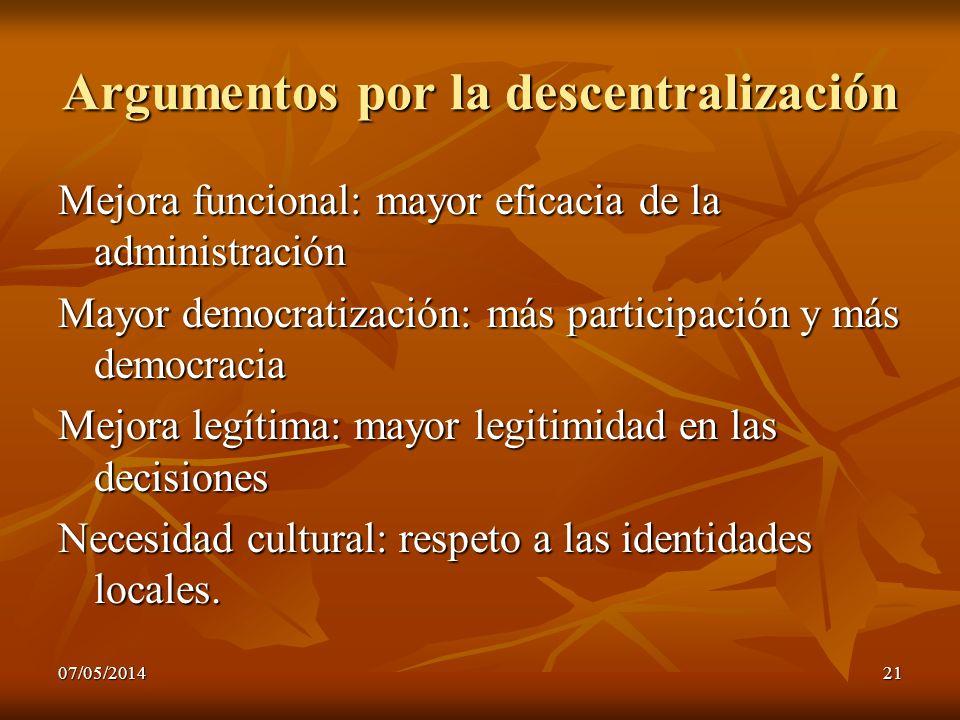 Argumentos por la descentralización