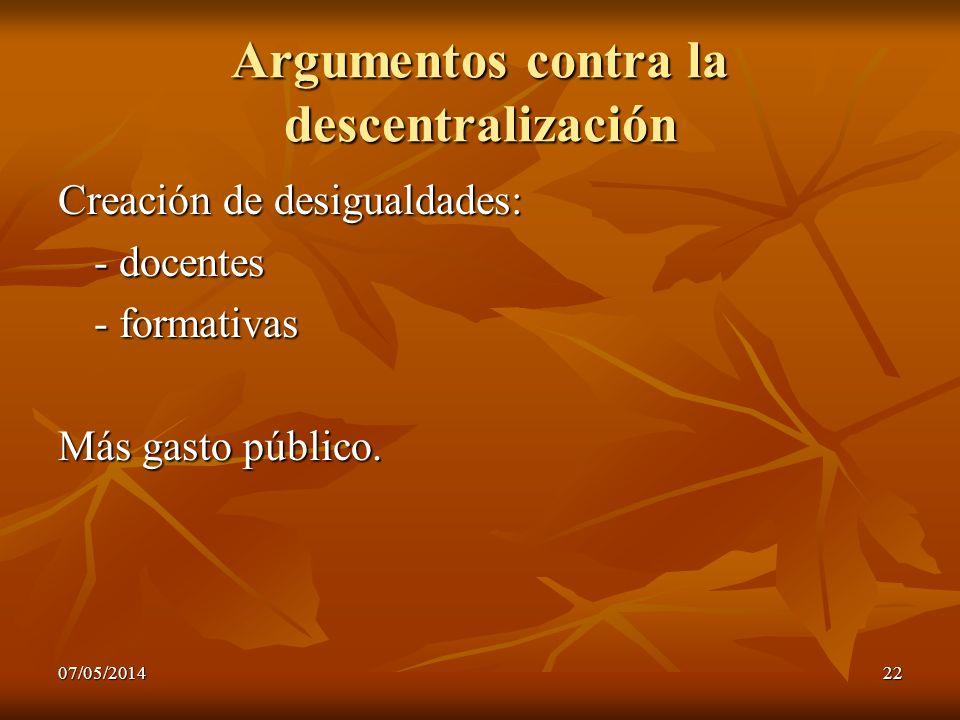 Argumentos contra la descentralización