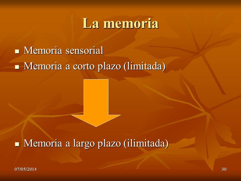 La memoria Memoria sensorial Memoria a corto plazo (limitada)